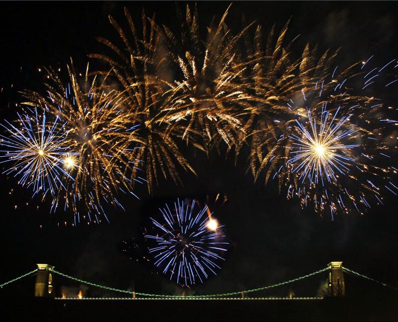 Fireworks at Clifton Suspension Bridge