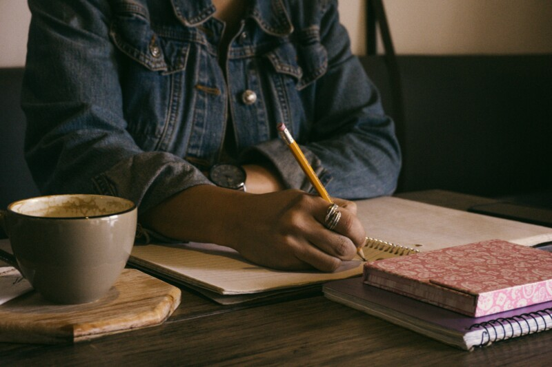 Writer working at a table